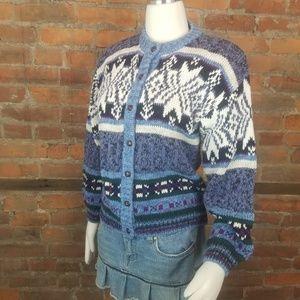 Vintage Women's Cardigan Sweater Blue White Gray